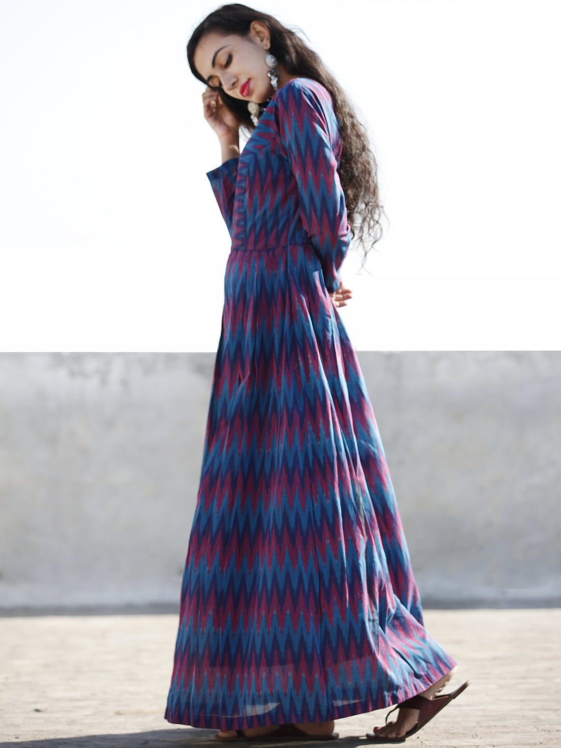Blue Magenta Violet Handwoven Long Mercized Ikat Dress (Lining Attached)-  D168F838
