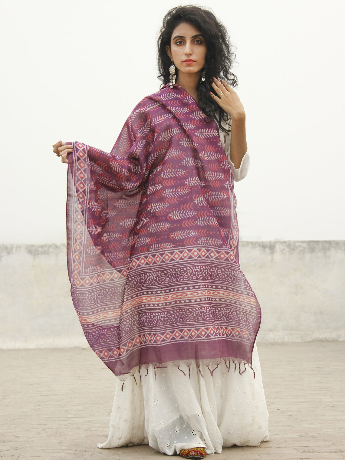 Dark Onion Pink Red Ivory Chanderi Hand Black Printed & Hand Painted Dupatta - D04170224