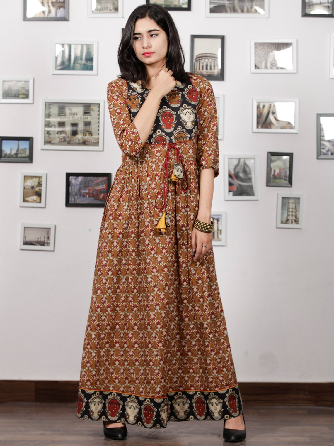 Peanut Brown Beige Maroon Black Hand Block KalamKari Printed Long Cotton Dress With Potli Tassels & side Pocket - D302F1491