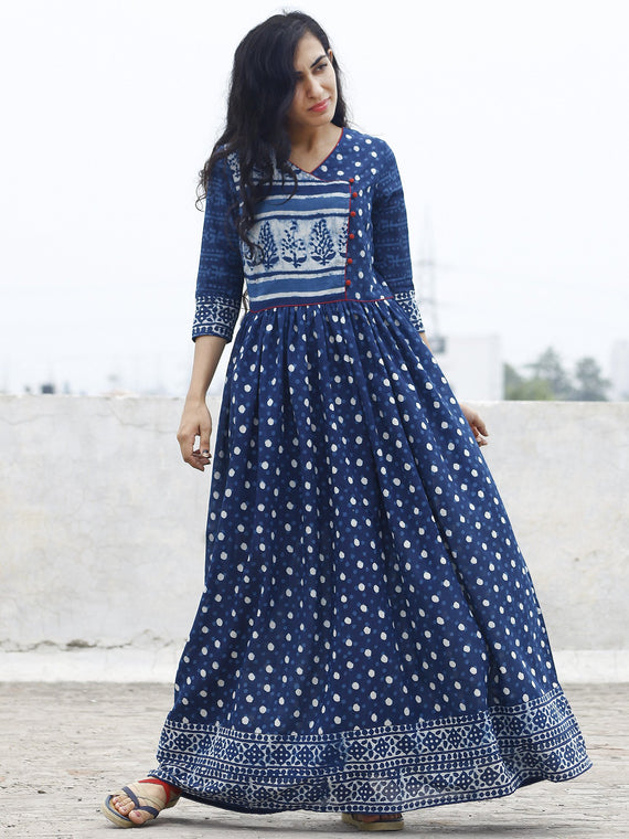 Indigo Ivory Hand Block Printed Angrakha Dress With Gathers -  DS15F001