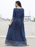 Naaz Noor - Indigo Ivory Hand Block Printed Angrakha Dress With Gathers -  DS15F001