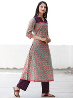 Sage Green Navy Orange Pink Cotton Hand Block Printed Kurta & Pants - Set of 2 - SS01F1863