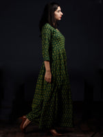 Green Yellow Handloom Mercerised Ikat Cotton Long Dress - D317F1568