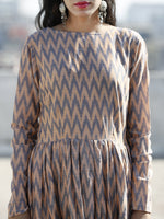 Peach Grey Handwoven Long Mercized Ikat Dress With Gathers (Lining Attached)-  D168F832