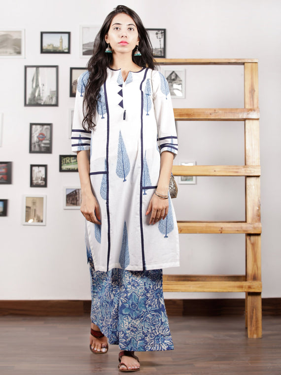 Blue White Hand Block Printed Kurta in Natural Colors - K90F1500