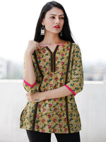 Mustard Green Magenta Embroidered Hand Block Printed Cotton Top  - T60F1132
