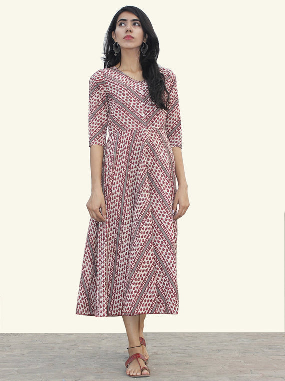 White Maroon Grey Hand Block Printed Cotton Midi Dress  - D157F879