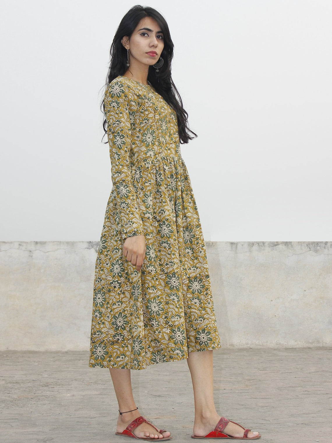 Mustard Yellow Green Ivory Black Hand Blocked Cotton Midi Dress With Side Pockets - D154F989