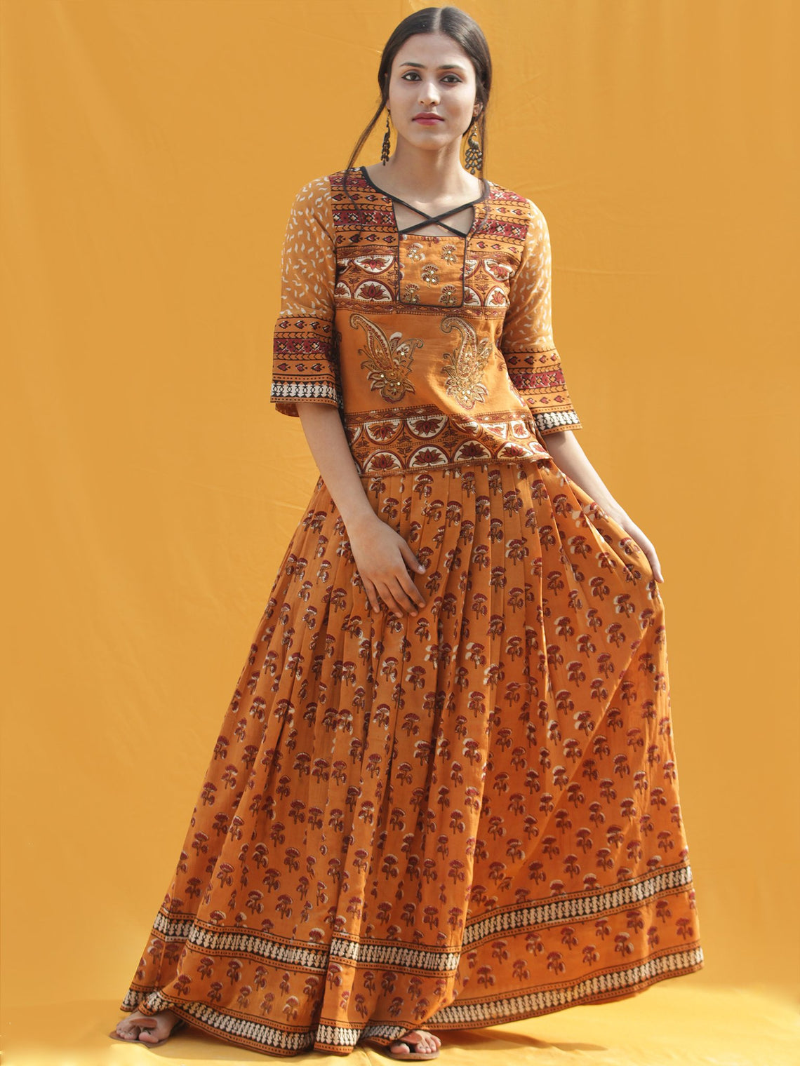 Midhah - Hand Block Printed Long Top And Skirt Dress - DS83F001