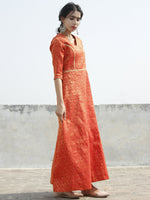 Red Golden Long Princess Line Brocade Dress - D122F001