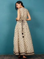 Naaz - Beige Black Grey Hand Block Printed Long Cotton Sleeveless Dress With Back Tassel Belt -  DS50F001