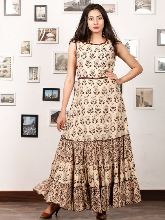 ENGAGE BEIGE - Hand Block Printed Cotton Long Sleeveless Dress - D319F1338