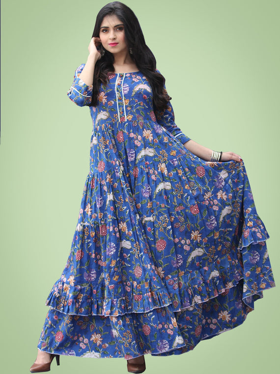 Raabia - Royal Blue Green Red Hand Block Printed Long Ruffle Dress - D399F2181