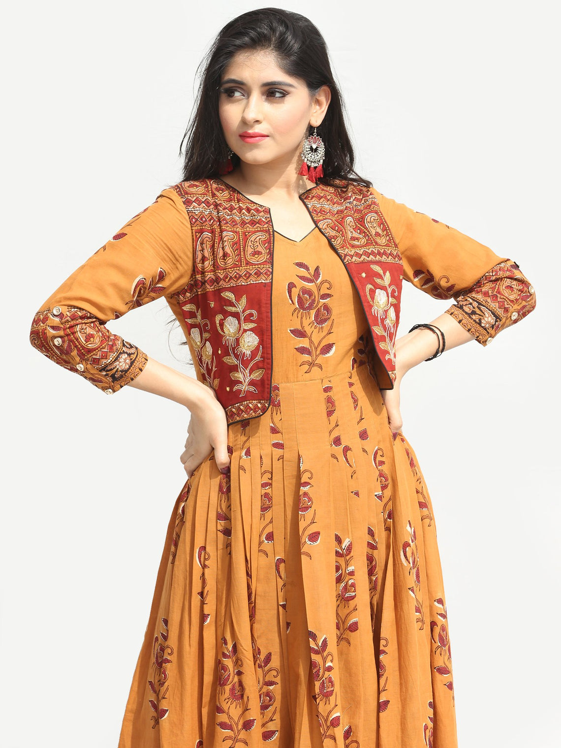 Roheen - Hand Block Printed Long Cotton Box Pleated Embroidered Jacket Dress - DS98F004