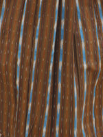 Brown Maroon Blue Orange Ivory Handloom Ikat Cotton Dress -  D111F921