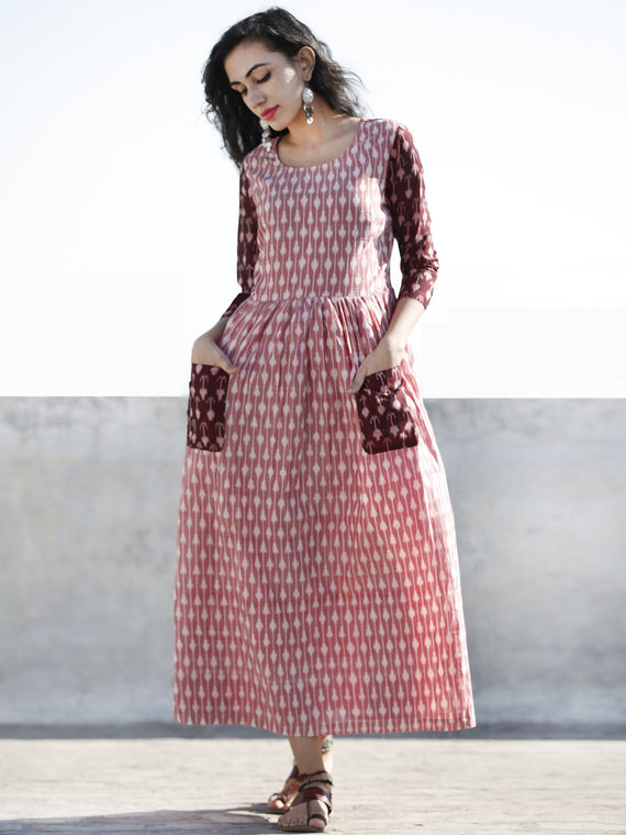 Peach Wine Red Hand Woven Mercerized Cotton Ikat Dress With Pockets - D173F1279