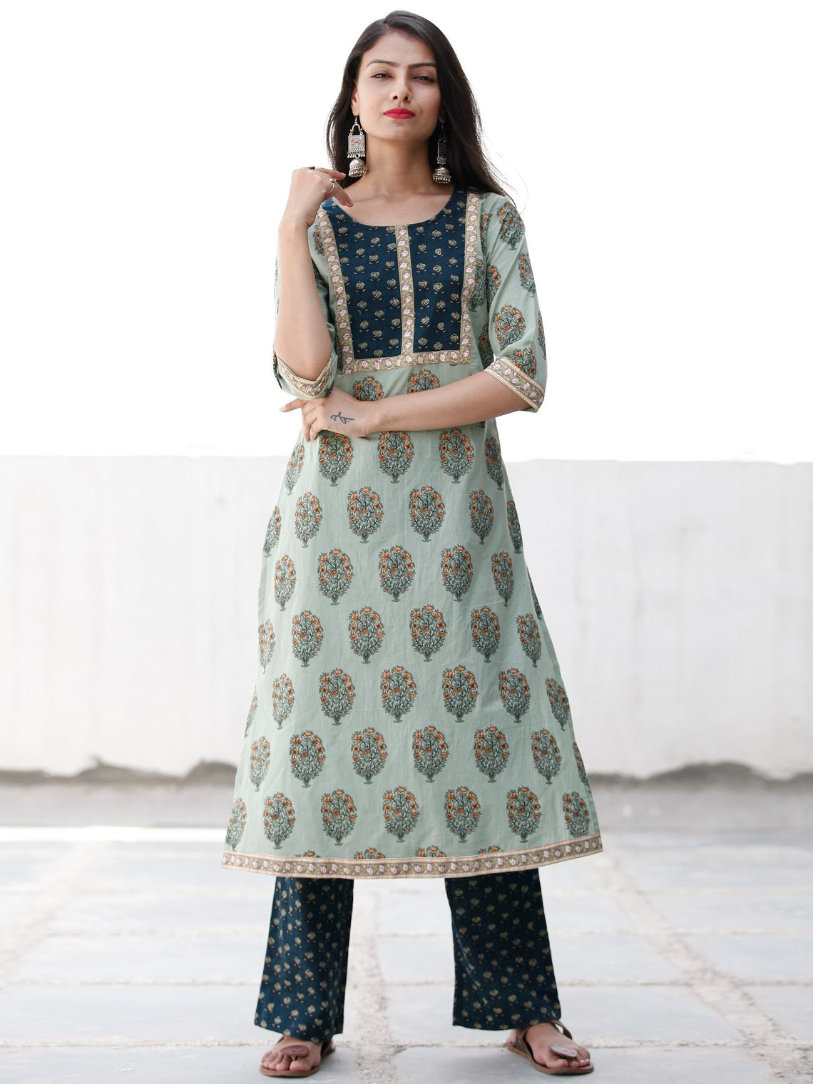Sage & Teal Green Yellow Cotton Block Printed Kurta & Pants - Set of 2 - SS02F1864