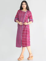 Zafrah - Handwoven Ikat Cotton Button Dress - D413F1448