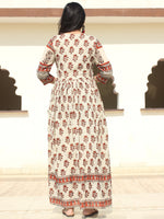 Faeezah - Hand Block Printed Long Cotton Dress With Gather & Lining - DS01F002