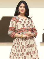Naaz Faeezah - Hand Block Printed Long Cotton Dress With Gather & Lining - DS01F002