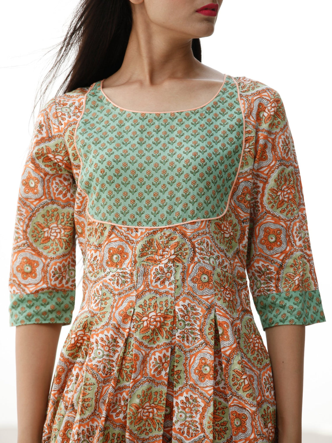 Pastel Wonders  - Block Printed Cotton Dress  - D70F1917