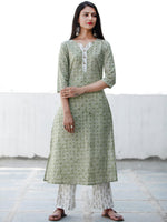 Fern Green White Cotton Hand Block Printed Kurta & Pants - Set of 2 - SS01F1945