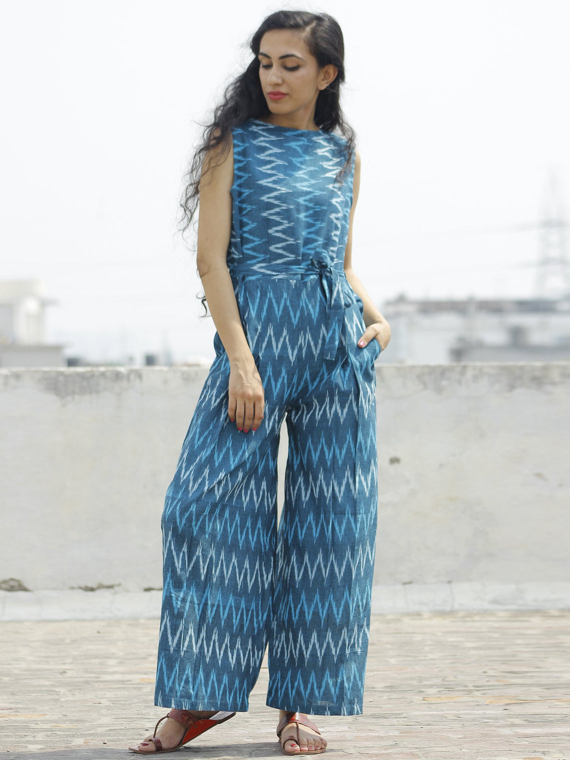 Blue Ivory Handloom Ikat Cotton Jumpsuit With Back Zip -  D112F947