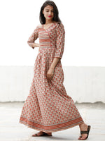 Summer Blossoms  - Block Printed Cotton Long Dress  - D358F1876