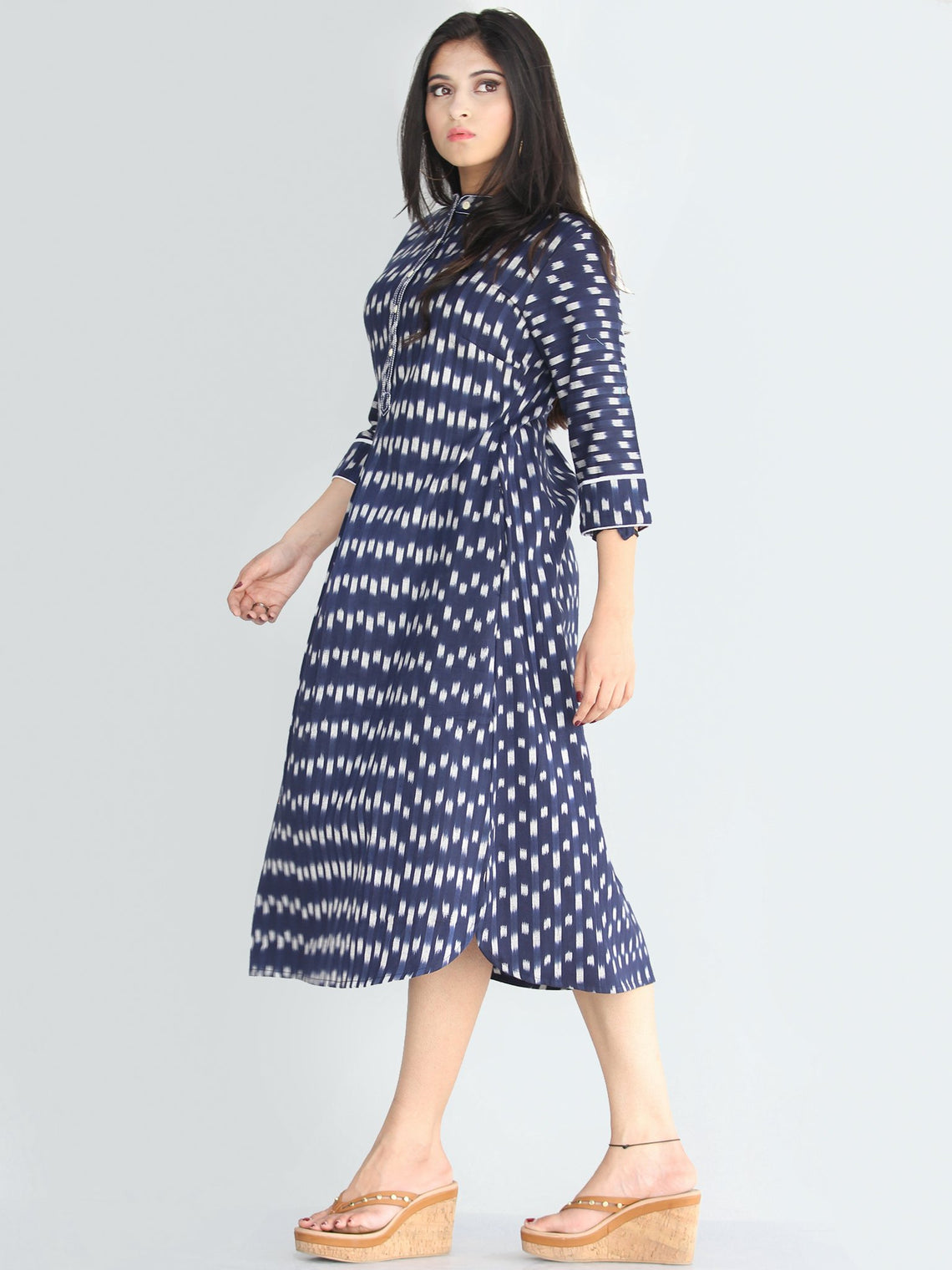 Faizah - Handwoven Ikat Cotton Shirt Dress - D414F1573