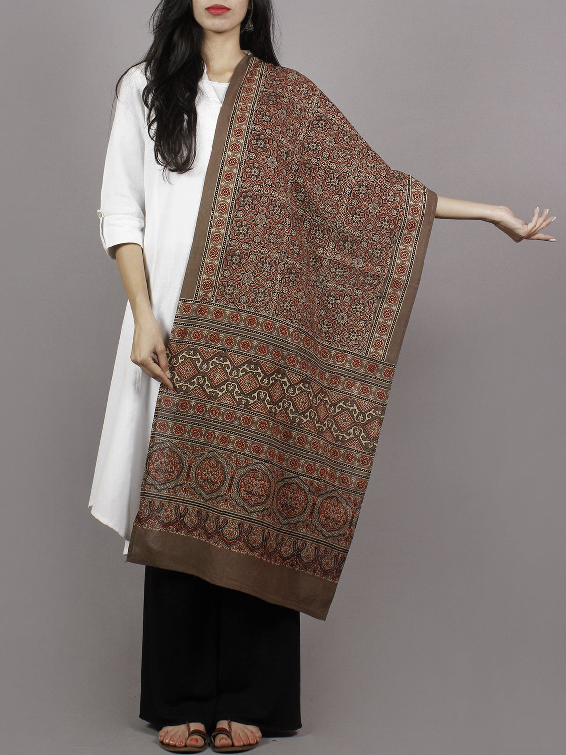 Brown Beige Maroon Black Mughal Nakashi Ajrakh Hand Block Printed Cotton Stole - S63170130