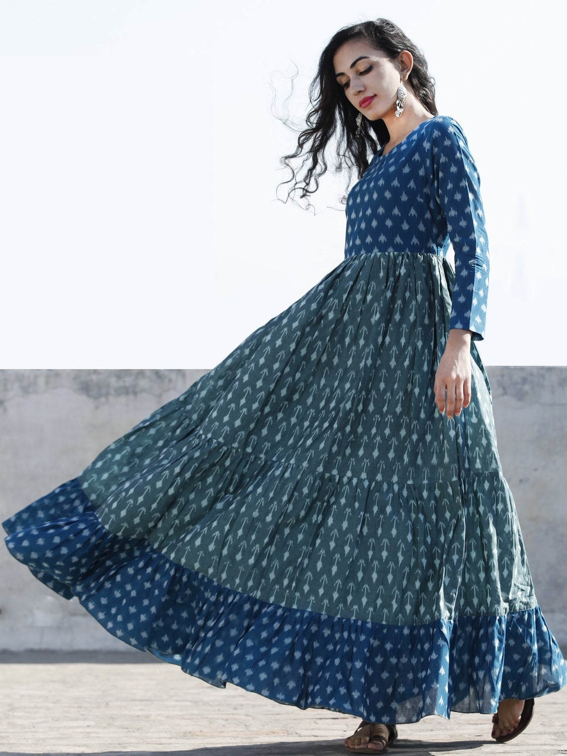 Teal Blue Pastel Teal Green Hand Woven Mercerized Cotton Ikat Tier Dress - D172F1265