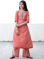 Peach Time - Cotton Hand Block Printed Kurta & Pants - Set of 2 - SS01F1934