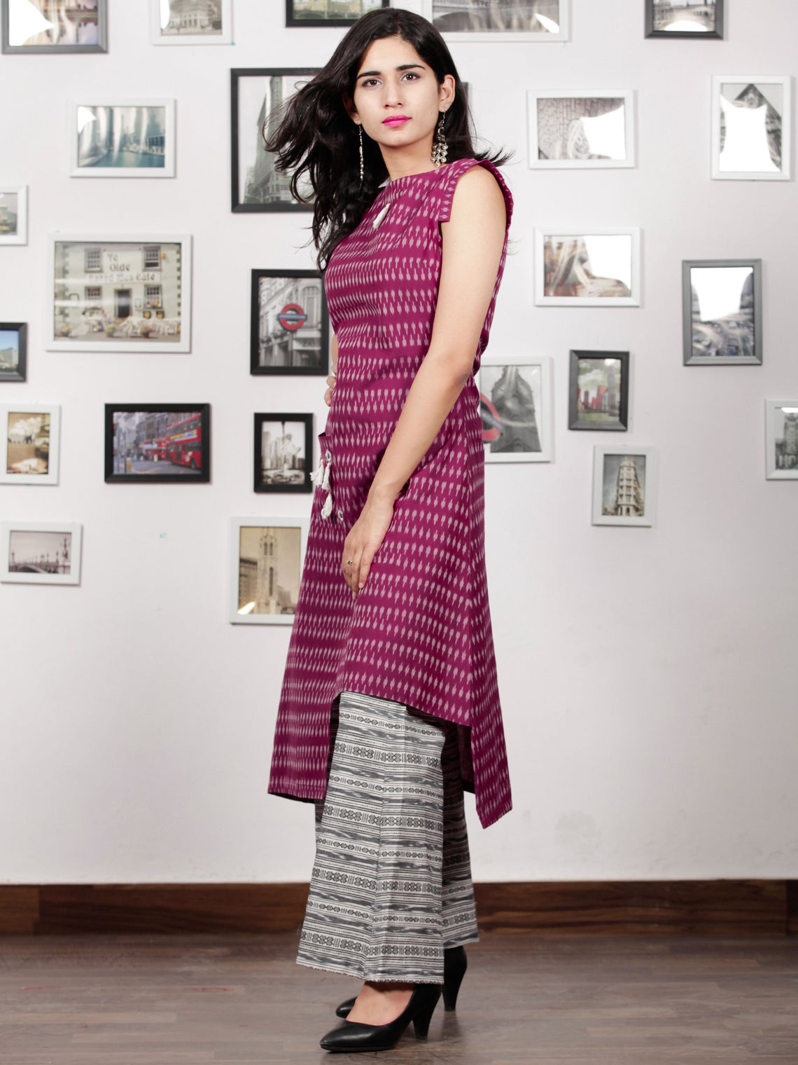 Purple Ivory White Handloom Mercerised Ikat Kurta & Culottes Dress With Embroidered Details (Set of 2) - D292F1562