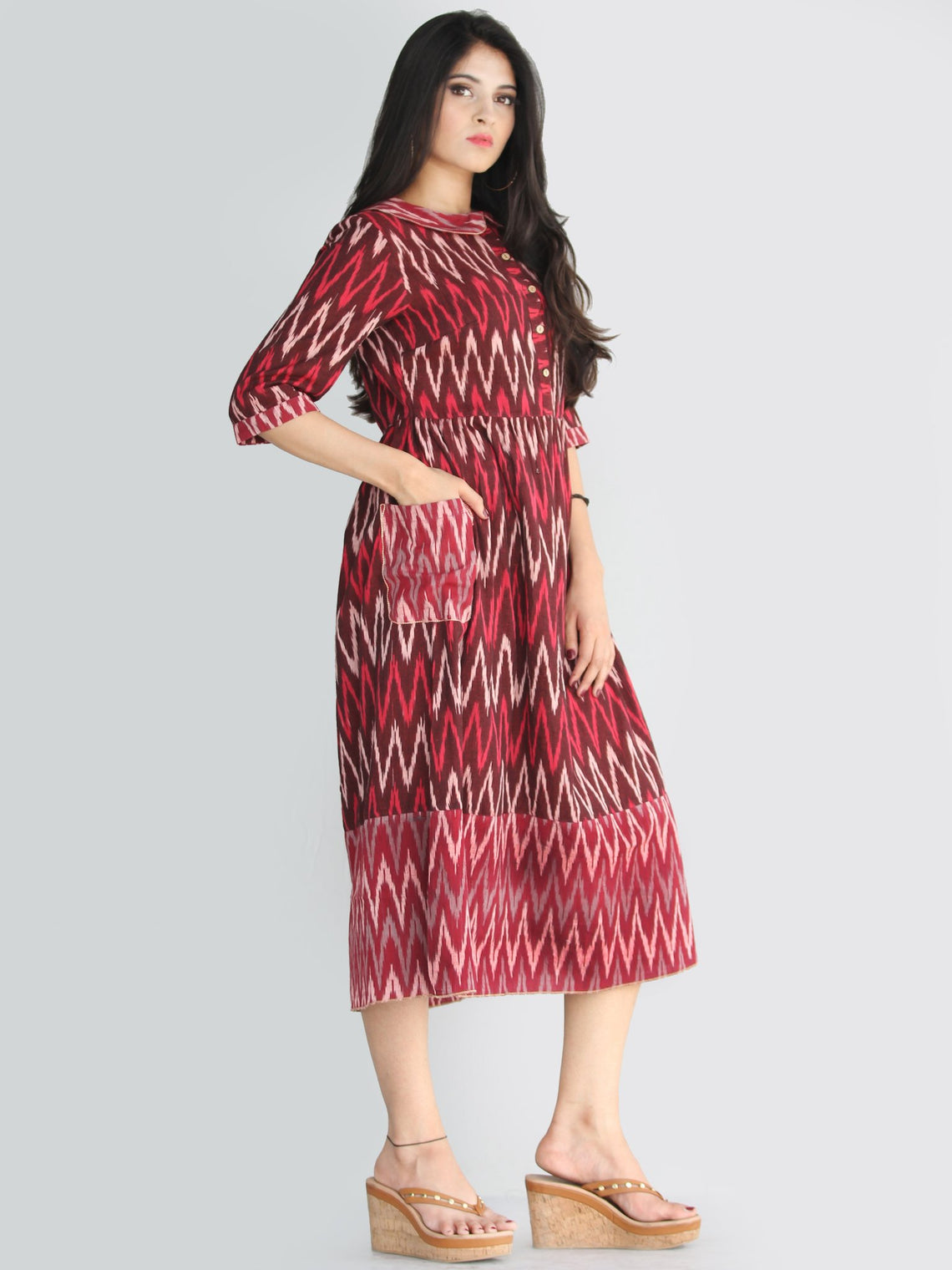 Lafiza - Handwoven Ikat Cotton Midi Dress With Front Pockets - D415F861