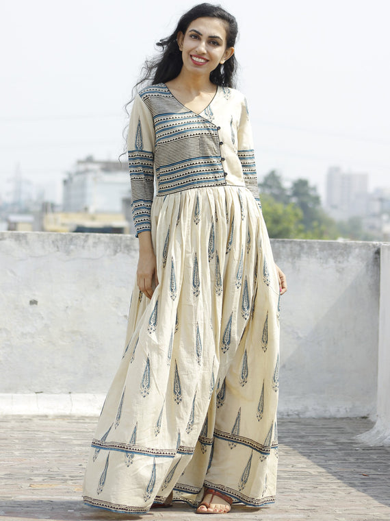Naaz Aaira - Beige Teal Blue Black Hand Block Printed Long Cotton Angrakha Dress with Gathers & Lining- DS11F003