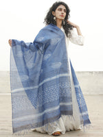 Blue Ivory Chanderi Hand Black Printed & Hand Painted Dupatta - D04170233