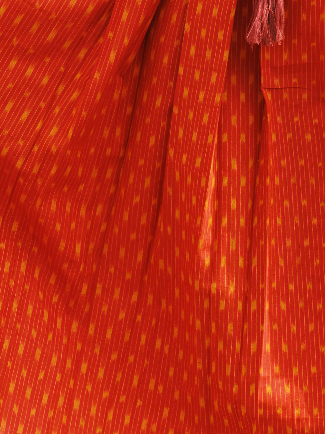Red Orange Ikat Dress With Box Pleats & Side Pockets -  D113F958