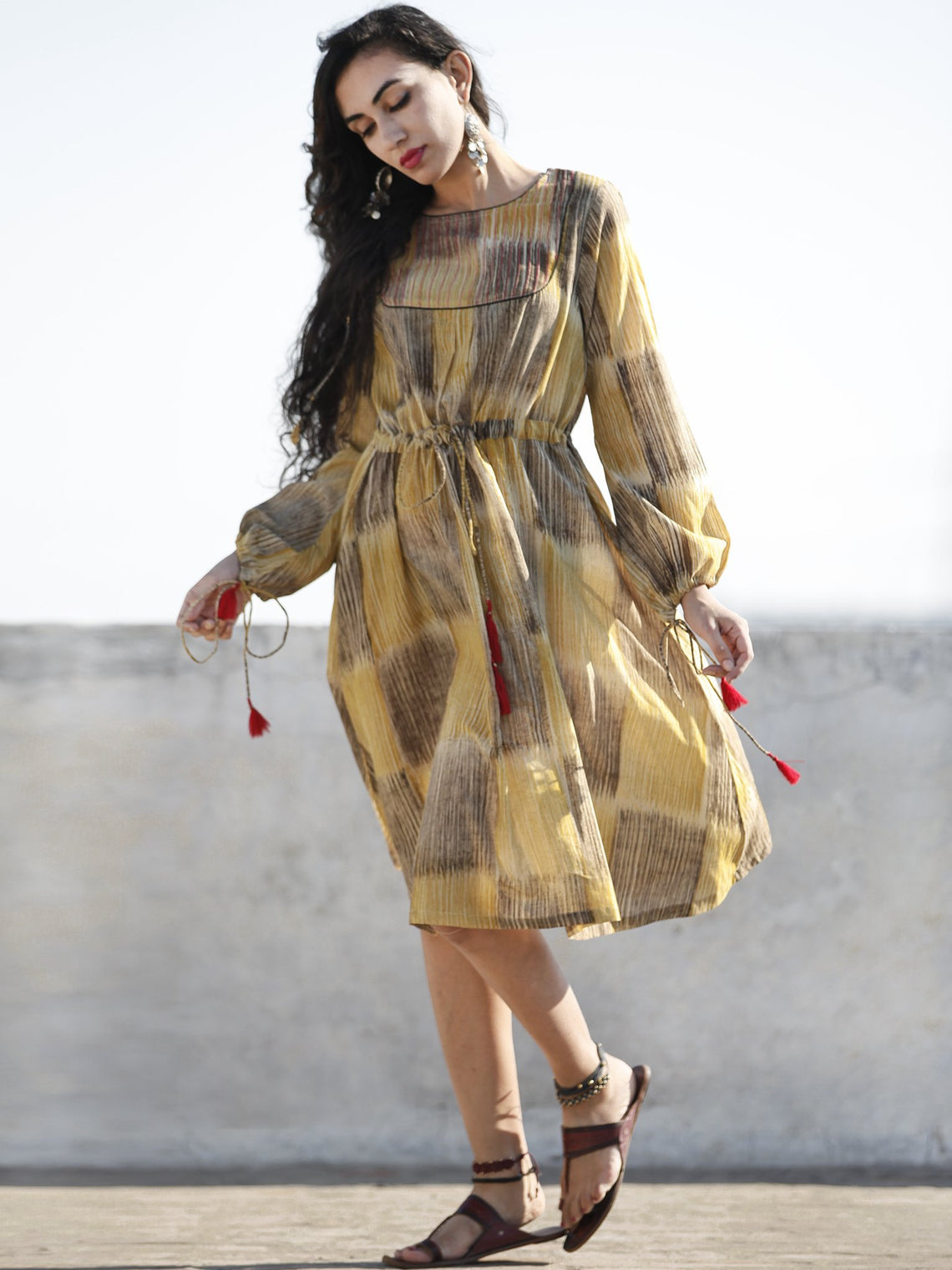 Mustard Yellow Brown Hand Brush Painted Cotton  Dress With Tassels and PinTuck Details- D198F1088