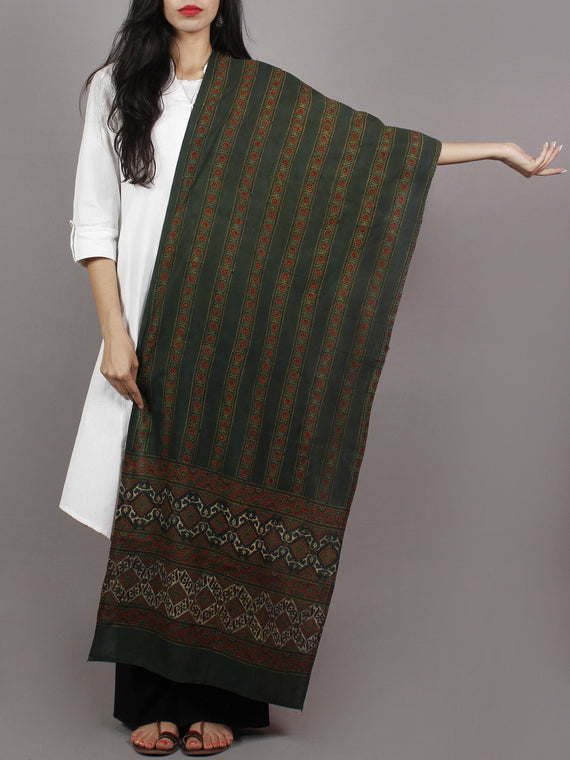 Dark Green Maroon Black Mughal Nakashi Ajrakh Hand Block Printed Cotton Stole - S63170132