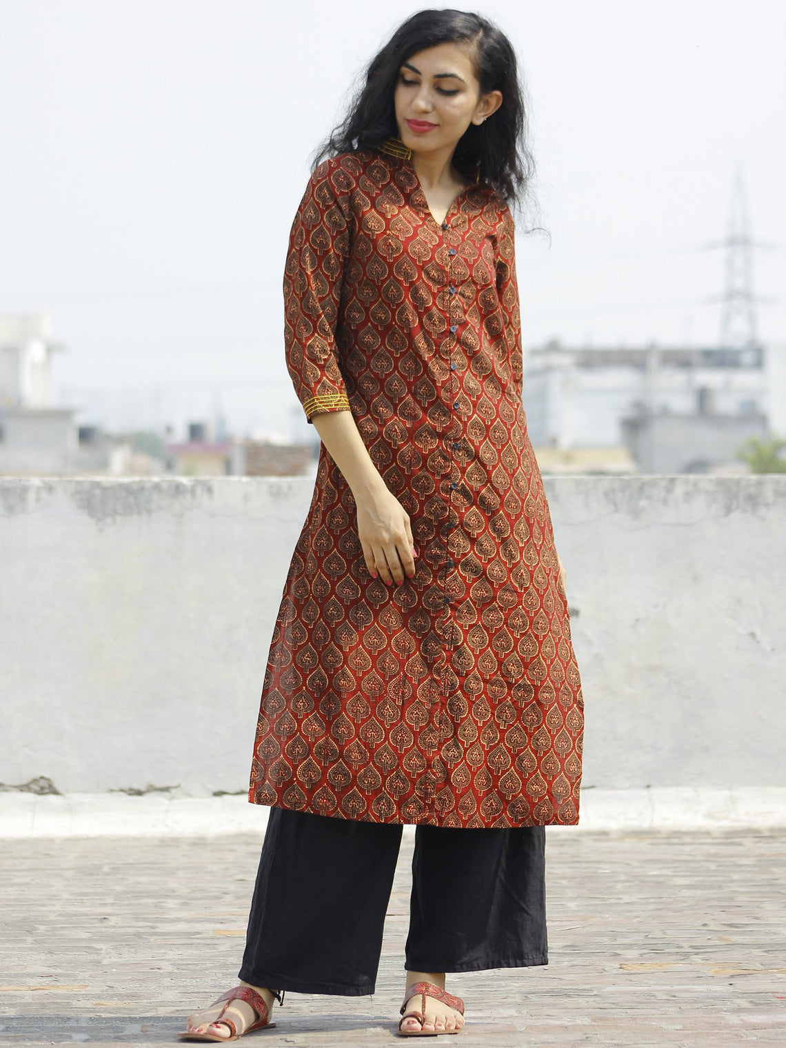 Maroon Olive Yellow Hand Block Printed Kurta With Stand Collar - K22F648