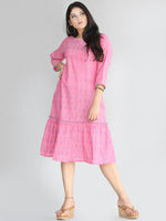 Mohisa - Handwoven Ikat Cotton Tiered Dress - D417F1473