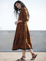 Brown Golden Yellow Hand Woven Mercerised Ikat Tier Dress - D199F1020