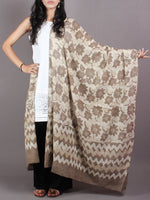 Beige White Cotton Mul Hand Block Printed Dupatta - D0417073