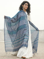 Metallic Blue Teal green Chanderi Hand Black Printed & Hand Painted Dupatta - D04170228