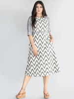 Vashti - Handwoven Cotton Silk Ikat Midi Dress - D418F1452