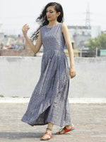Grey Maroon Ivory  Long Sleeveless Handwoven Double Ikat Dress With Knife Pleats & Side Pockets - D32F662