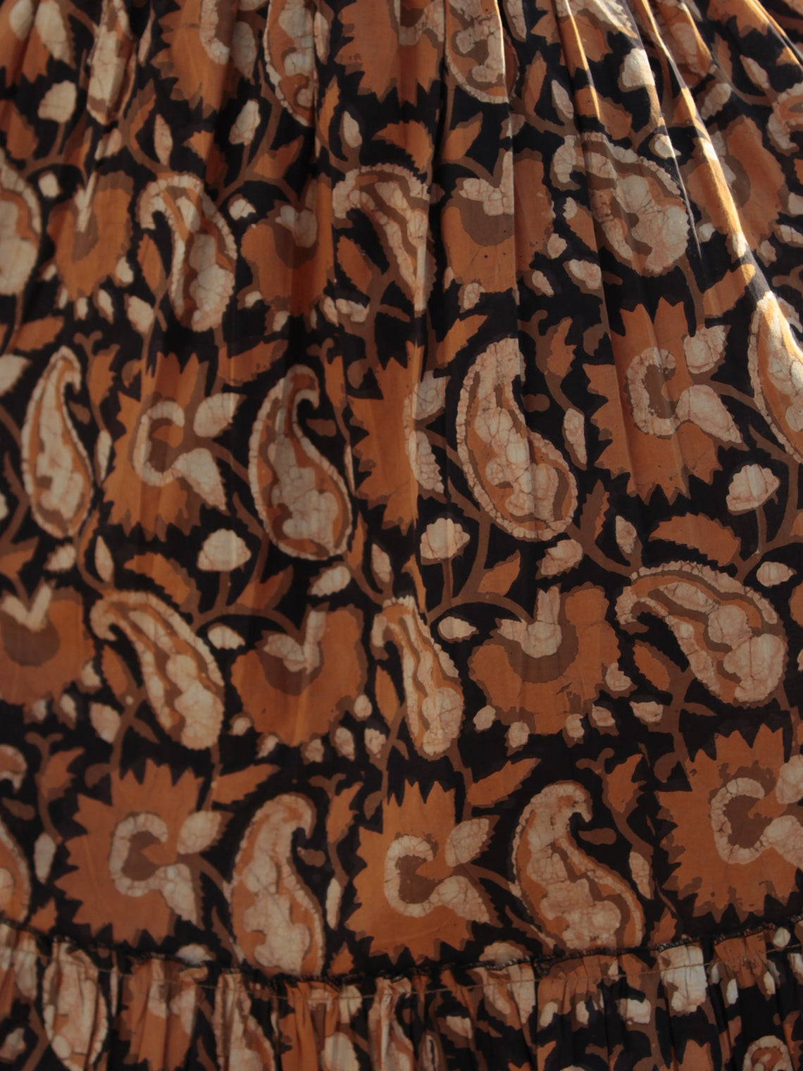 Mustard Beige Black Hand Block Printed Cotton Dress With Elasticated Waist - D200F1001