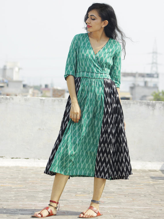 Green Black Ivory Handwoven Ikat Dress With Knife Pleats - D114F927