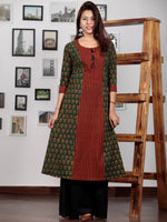 Pine Green Rust Red Yellow Ajrakh Hand Block Printed Kurta With Tassels - K72BP0133