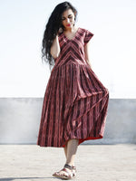 Maroon Red Ivory Hand Woven Ikat Midi Dress With Cap Sleeves - D201F756